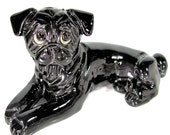 Vintage KATHY WISE Original Black PUG Dog Figure Sculpture Pottery Figurine Rare
