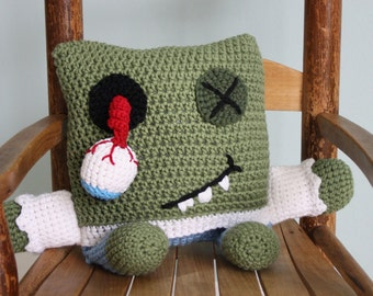 Zombie Pillow, Zombie Stuffed Toy, Crochet Pillow, Crochet Toy, Throw Pillow, Holiday Gift, Men, Women, Boys, Girls, Accent Pillow, Gift