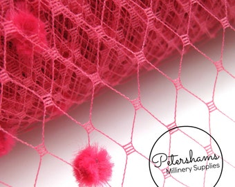Dotted Russian / French Veiling for wedding birdcage veils and fascinator millinery 1m (1.09 yards) - Fuschia Pink
