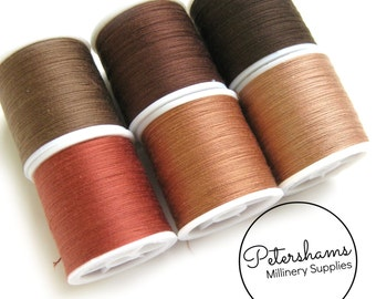 Brown Thread Collection - 6 Shades of Polyester Thread on 100 yard Spools