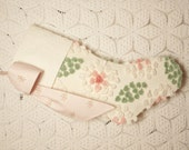 Elegant Peach, Cream and Sage Green Hand Tufted Flowers Vintage Chenille Stocking with Eyelet Lace Cuff and Rose Bouquets Bow