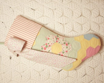 Sweet Pastel Grandmother's Flower Garden Vintage Quilt Stocking with Ticking Cuff and Big Bow