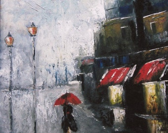 Under The Red Umbrella - Abstract Print