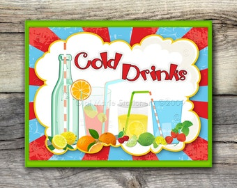 CIRCUS CARNIVAL Cold Drinks Beverage Refreshements Sign - 8x10 and 11 x 14 - Instant Download