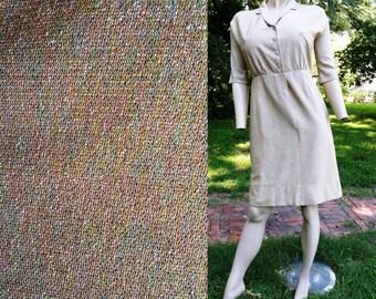 Sale 30% OFF Vintage Cocktail Dress, 50s Dress, Secretary Dress, Vintage Dress, Metallic Dress, Shirt Dress by Brief Original Size 8