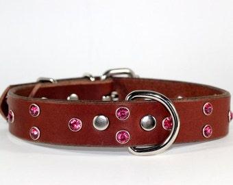 "Pink Crystal Dog Collar - Brown Crystal Leather Dog Collar - 1"" Brown Leather Dog Collar - Pink Crystal Leather Dog Collar - Made In Ca"