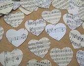 Sheet Music Paper Hearts Medium - Die Cut Heart Shape Paper Cuts - Mixed Media Die Cut Heart  - Paper Heart Old Paper Hearts - Music Paper
