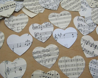 Sheet Music Paper Hearts Medium - Die Cut Heart Shape Paper Cuts - Mixed Media Die Cut Heart  - Paper Heart Old Paper Hearts - Music Paper