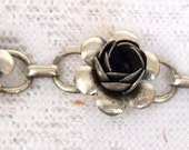 """Vintage 40s 50s Coro Necklace Sterling Silver  """"Blooming Rose"""" 14  inches Choker Style  Free ship within the USA"""