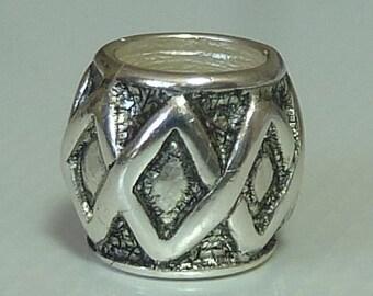 Sterling Silver Oxidised Design European Slider Charm Bead - Fits all European Charm Bracelets