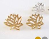 24K Gold Lotus Stud Earrings- Silver Lotus Earrings- Sterling Silver Lotus Studs-Lotus Post Earrings EGS-SD11