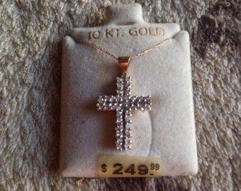 Vintage 90's 10 Kt. Gold Necklace & 1/2 ct Diamond Cross Pendant - Orig.250.00  -NWT