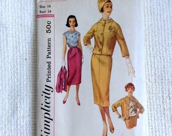 Vintage 1950's  Slim Skirt 3 piece suit sewing pattern.  Uncut. Simplicity.   Misses Size 14.   No. 2373.