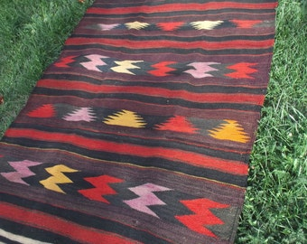 "Lovely colours, 7 ft 9 x 3 ft 11"" Long Runner  Rug/Kilim 236 x 120 cm. Yurt. Handspun wool. Tapis"