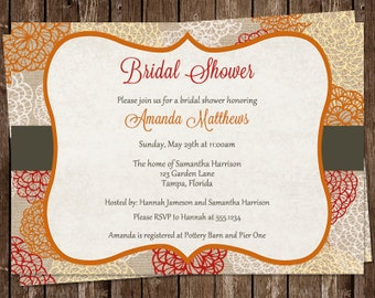 Autumn Bridal Shower Invitations, Wedding, Flowers, Fall, Orange, Red, Set of 10 Printed Cards, FREE Ship, CILAU, Clustered in Love Autumn