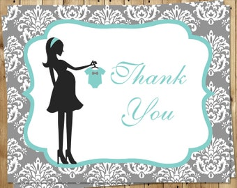 Baby Shower Thank You Cards, Teal, Blue, Boys, Damask, French, Shabby, Classic, Chic, Set of 24 Folding Notes & Envelopes, FREE Shipping