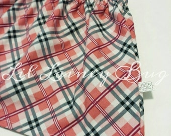 LAST ONE - High Waist School Girl Plaid Twirl Skirt And Matching Headband - Pink White Navy -Baby Toddler Girl -Trendy Fall - 24mos/2t ONLY
