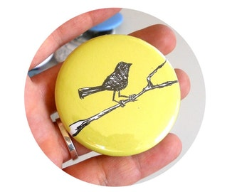 bird on a Branch  Pin back Button in yellow or your choice of colors, Pastel, Spring, Party Favor, Customizable
