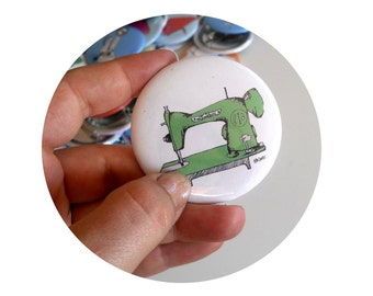 Vintage Sewing Machine  Pin back Button, Seamstress Hand Made Pinback Badge, Mint Green, White, Flair, Small Gift, Stocking Stuffer