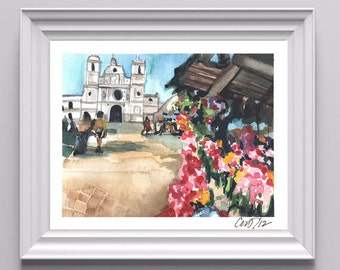 Digital Print of Original Watercolor on Paper of Honduran Market in the Spring, Vibrant Colors, Many different sizes available!