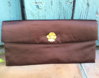 Vintage 1950s Brown Satin Clutch Evening Purse with Gold Flower Detail