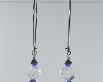 Niobium earrings: Crystals and glass on exaggerated kidney earwires