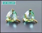 2 prasiolite pale green color glass stone earrings in gold setting, make easy DIY earrings, bridal earrings 5133G-PR
