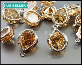 2 unique wrapped CZ stone charms, champagne blush Cubic Zirconia crystal teardrop pendants, crystals 1824R-CH