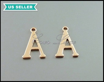 4 alphabet letter A charm beads in rose gold / vintage style monogram letters A pendant for layered necklace / dog collar 1907-BRG-A