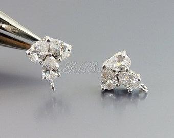 2 sparkling 3-leaf Cubic Zirconia earrings in shiny silver, CZ earrings, stud earrings, wedding earrings, bridal earrings E1687-BR