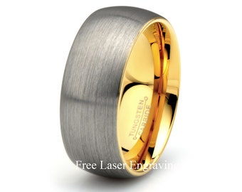 Tungsten Wedding Band Brushed Domed Yellow Gold Plated inside the Ring 9mm Width Mens Women's Wedding Anniversary Ring Gift for Men