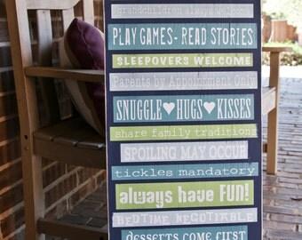 Grandparents House Rules, 15x36 Custom Design Wood Sign, Gifts for Grandparents, Grandparent Sign, Subway Art