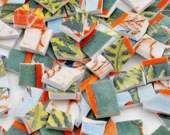 Broken China - Mosaic Tiles - Green and Orange - Tropical - Set of 100