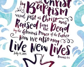 Baptism certificate, Wall art, Scripture print, Waves, Dove, Blue