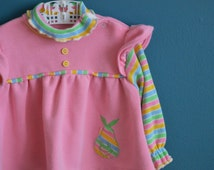 Vintage Girl's Pink Tunic with Rainbow Pear by Health-tex - Size 24 Months