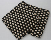 Quilted Hot Pot Holder - Cream Eggs on Black