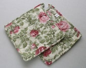 Quilted Hot Pot Holder and Trivet - Beautiful Pink Roses and Green Leaves