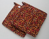 Quilted Hot Pot Holder and Trivet - Chocolate Brown with Bright Fall Leaves