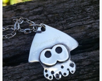 Cute Inkling Squid Pendant Necklace in Sterling Silver