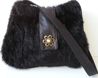 Black Hobo Shoulder purse bag winter fall custom made w/ faux fur & pocket Large washable vegan shoulder bag purse CarolJoyFashions78