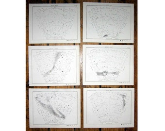 1892 STAR MAPS of SOUTHERN sky celestial hemisphere - set of 6 stellar astronomy charts - original antique lithographs - Milky Way galaxy