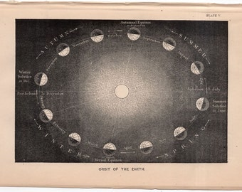 1872 ORBIT of EARTH print original anitque celestial astronomy lithograph