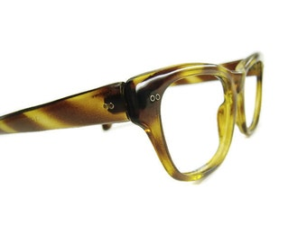Vintage Mens Womens Brown Tortoise Hornrim Cateye Eyeglasses Eyewear Frame