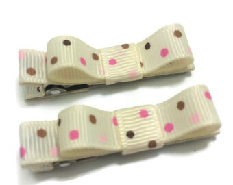 Ivory, Pink & Brown Dots Tuxedo Hair Bows