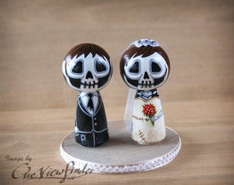 2.5 inches Customise Wedding Cake Topper, - skull, zombie. monster, creature, halloween