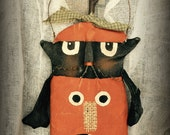 Primitive Pumpkin Cat Door Greeter