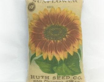 Red Sunflower Seed Packet Pillow Tuck | Sunflower pillow | Sunflower decor |