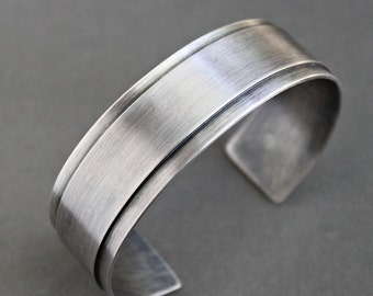 Mens Cuff Bracelet, Mens Silver Bracelet, Layered Sterling Rustic Wide Band