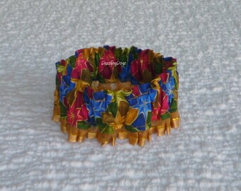 """Christmas Stars Dog Scrunchie Collar - dark gold pleated trim - Size S:  12"""" to 14"""" neck - TrY Me PRiCe"""