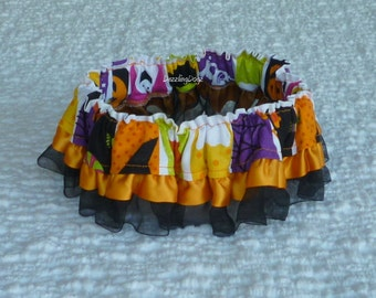 "Halloween Squares Dog Scrunchie Collar with ribbon and organza ruffle - L - 16"" to 18"" neck"